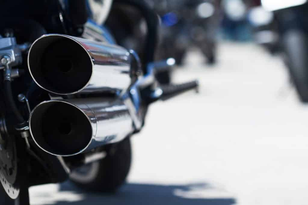 motorcycle rear exhaust pipes detail