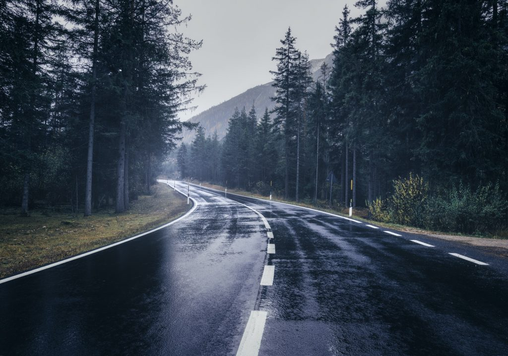 Road in the summer foggy forest in rain. Landscape